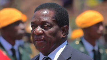 Emmerson Mnangagwa at the Heroes Acre in Harare earlier this month.