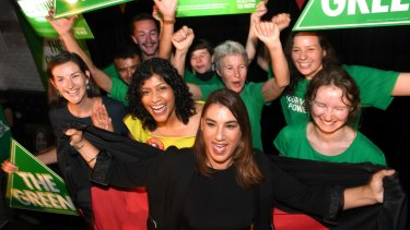 Jubilant Greens celebrate Lidia Thorpe (front) and her big win in Northcote.