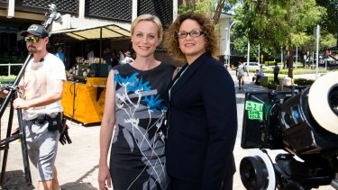 Marta Dusseldorp and Leah Purcell on a break filming TV series <i>Janet King</i>.