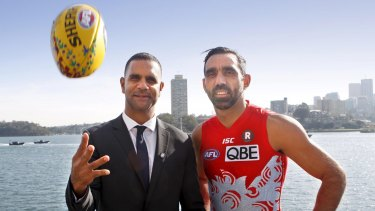 A fine pair: (From left) Michael O'Loughlin and Adam Goodes started the Go Foundation, which gains school scholarships for Indigenous children.