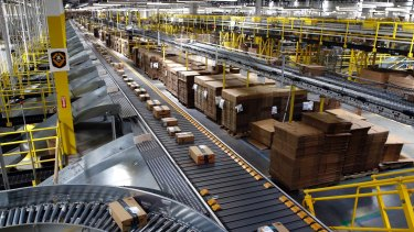 An Amazon fulfilment center in Baltimore. In Australia, the group has signed a lease in Dandenong South, Melbourne and is said to be looking at a Goodman Group site at Eastern Creek.