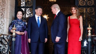 President Donald Trump and Chinese President Xi Jinping, with their wives, first lady Melania Trump and Chinese first lady Peng Liyuan.