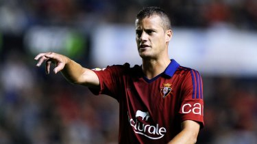 Strike power: Oriol Riera in action for Osasuna.