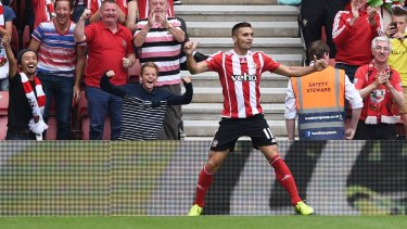 Dusan Tadic celebrates after scoring the third goal for Southampton at St Mary's.