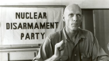 Peter Garrett, then lead signer with Midnight Oil, speaks to the media on behalf of the Nuclear Disarmament Party in 1984.