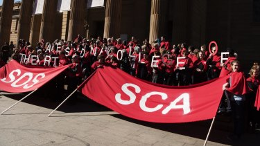 A recent protest outside against the defunding of Sydney College of the Arts.