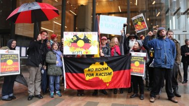 The Redfern Aboriginal tent embassy protest outside the Supreme Court on Friday.