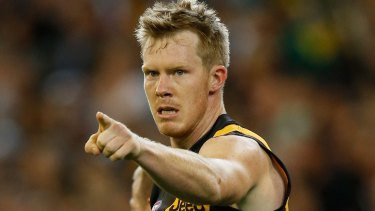 MELBOURNE, AUSTRALIA - APRIL 1: Jack Riewoldt of the Tigers celebrates a goal during the 2016 AFL Round 02 match between the Collingwood Magpies and the Richmond Tigers at the Melbourne Cricket Ground, Melbourne on April 1, 2016. (Photo by Michael Willson/AFL Media/Getty Images)