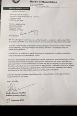 A letter dated September 28 from Jeremy Hanson to federal ministers Fiona Nash and Greg Hunt, obtained by The Canberra Times.