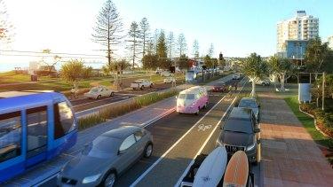 Sunshine Coast light rail proposal along Alexandra Heads.