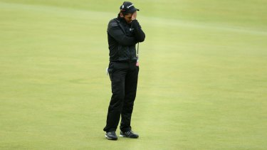 A disappointed Jason Day after missing his birdie putt on the 18th.