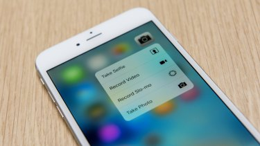 An iPhone 6s Plus shows the 3D Touch menu on the phone app.