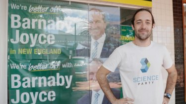 Science party candidate for New England, Meow-Ludo Disco Gamma Meow-Meow, poses outside Barnaby Joyce's campaign office in Tamworth during the New England byelection.