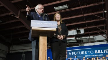 Democratic presidential candidate Senator Bernie Sanders with wife Jane Sanders during a Super Tuesday rally in Essex Junction, Vermont. Sanders raised $US42 million in February.