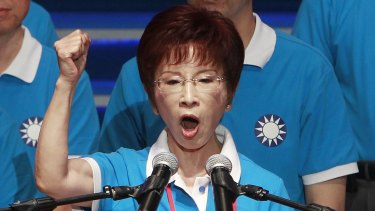 Hung Hsiu-chu addressing party members when she was nominated as presidential candidate in July.
