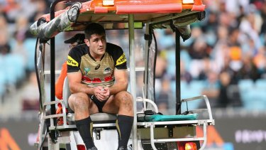 Up against it: Sam McKendry, seen here being carted from the field in the 2016 season, was badly hurt again on Saturday night.