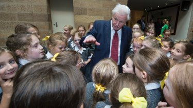David Attenborough with Sydney schoolchildren at the Australian Museum, where he was made a Lifetime Patron