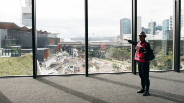 The view across Darling Harbour's convention centre precinct from inside the theatre.