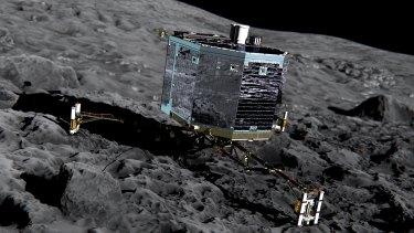 An artist's impression shows Philae on the surface of comet 67P/Churyumov-Gerasimenko.