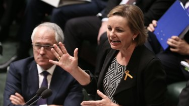 Prime Minister Malcolm Turnbull and Health Minister Sussan Ley during Question Time at Parliament House in Canberra on Tuesday 15 September 2015. Photo: Alex Ellinghausen