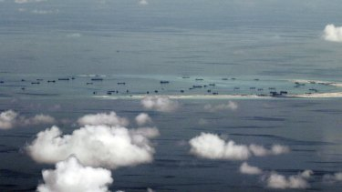 Land reclamation of Mischief Reef in the Spratly Islands in the South China Sea.