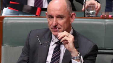 Stuart Robert during Question Time on Monday at Parliament House in Canberra.
