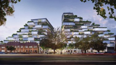 An artist's impressions of the two towers proposed at 26-56 Queens Parade.