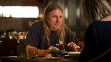 Author Tim Winton with Kylie Northover at Pascale Bar and Grill.