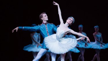 Adam Bull as  Prince Siegfried and Amber Scott as Odette in the Australian Ballet's Swan Lake.