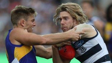 Don't argue: Cam Guthrie pushes Brad Sheppard away.