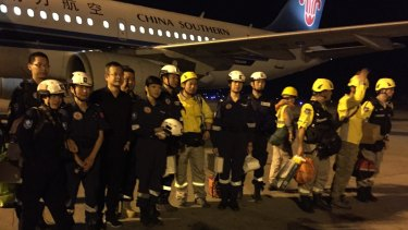 Chinese search and rescue team arrives at Tribhuvan International Airport, Kathmandu.
