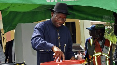 Nigerian President Goodluck Jonathan casts his ballot in Otuoke on Saturday.