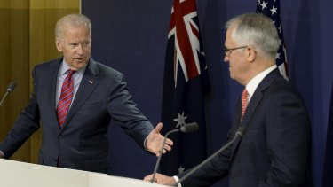 US Vice-President Joe Biden delivers a joint press statement with Prime Minister Malcolm Turnbull in the briefing room at the Commonwealth Parliamentary Offices in Sydney.
