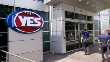 The AFL logo at AFL house is changed to support the marriage equality campaign on Wednesday.