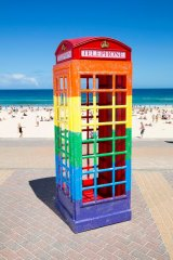 Same-sex marriage supporters will also be able to use the London-style phone box, which will have its debut at Sydney's Mardi Gras, to voice their concerns to their local MP.
