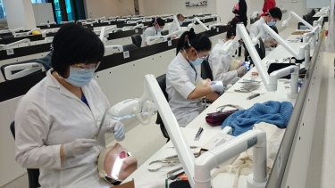 Students at the University of Queensland Oral Health Centre in Herston.