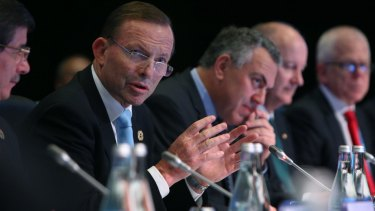 Prime Minister Tony Abbott during the G20 summit: his opening address to the Leaders' Retreat took a domestic focus.