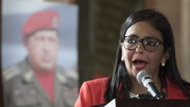 Delcy Rodriguez speaks while accepting her new post as President of the Constituent Assembly in Caracas.