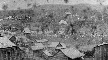A photo of Milton, showing the cemetery, circa 1870.