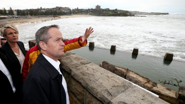 Opposition Leader Bill Shorten and Deputy Deputy Opposition Leader Tanya Plibersek tour the storm affected Coogee Surf Life Saving Club.