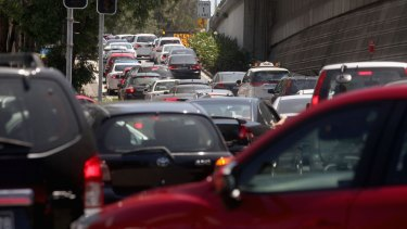High volumes of traffic from Flemington Markets, a factory outlet and Olympic Park make the spot where Homebush Bay Drive connects with the M4 motorway a nightmare for motorists.