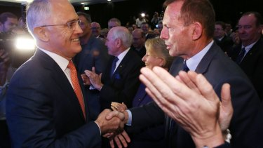 Rising tensions: Malcolm Turnbull and Tony Abbott.
