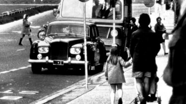 Canberra's then busiest bus stops on Northbourne Avenue in Civic, in 1969. Prime minister John Gorton caused a stir when his official car (pictured) was parked at the stop for 30 minutes.