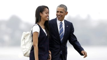US President Barack Obama and his daughter Malia, who will be taking a gap year before starting at Harvard University.
