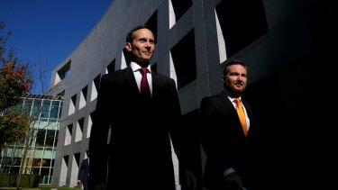 Shadow assistant treasurer Andrew Leigh (left), pictured with Chris Bowen earlier this month at Parliament House, has been campaigning in Brisbane this week.