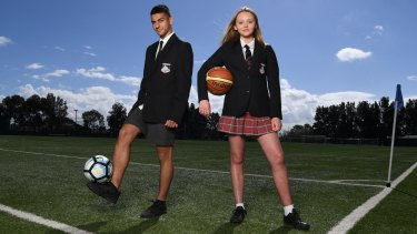 'There's more opportunity there to combine sports with study at a really high level': Endeavour Sports High School students Kyle Sarigiannis and Hannah Higgins want to go to UCLA or Stanford University once they finish their HSC.
