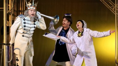 David Parkin (The King od Clubs), Rosario La Spina (The Prince) and Victoria Lambourn (Smeraldina) in Opera Australia's production of The Love for Three Oranges.   Photo credit: Prudence Upton