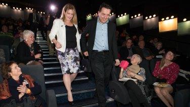 Nick Xenophon celebrates with Rebekha Sharkie, who won the seat of Mayo.