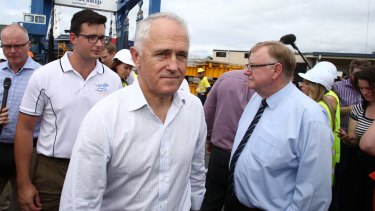 Prime Minister Malcolm Turnbull and senator Ian Macdonald in Cairns on Wednesday.