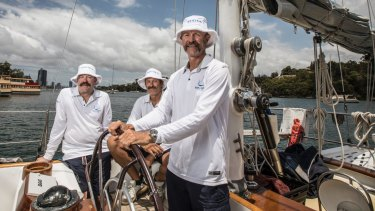 Restored to former glory: From left, co-owner and skipper of Kialoa II, Keith Broughton, crew member Dallas Kilponen and fellow co-owner, Paddy Broughton.